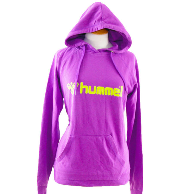 close up of Purple And Green Hummel Pullover Hoodie