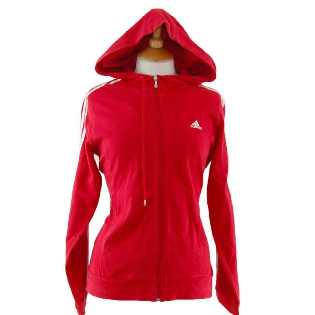 close up of Red Adidas Zip Up Hoodie