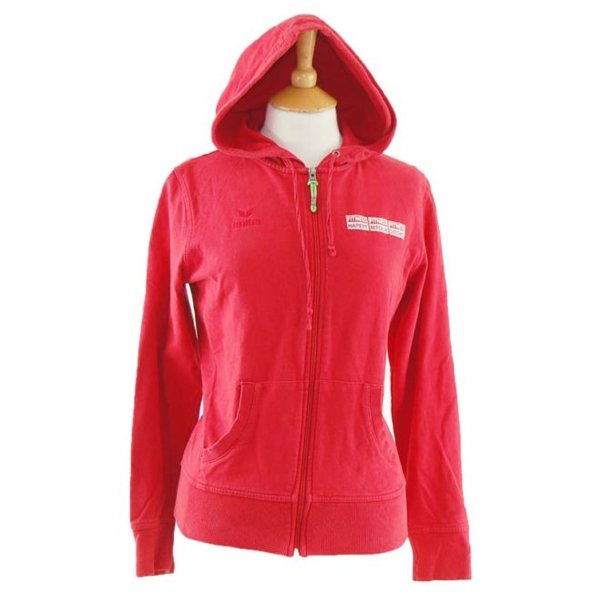 close up of Red Erima Fitness Zip Up Hoodie