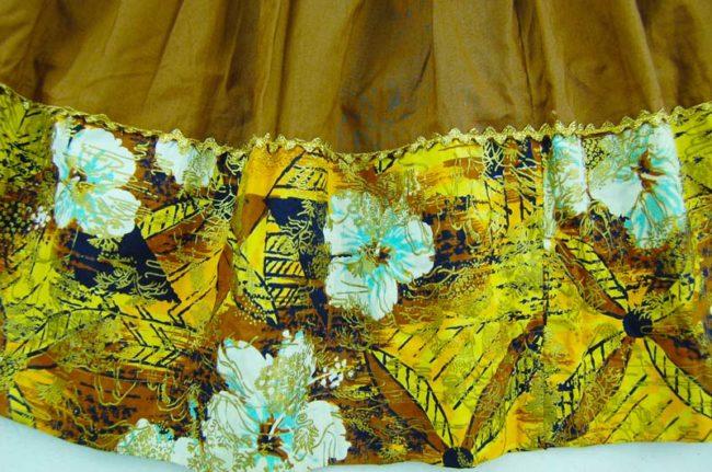 pattern of 70s Oriental Style Cotton Full Skirt