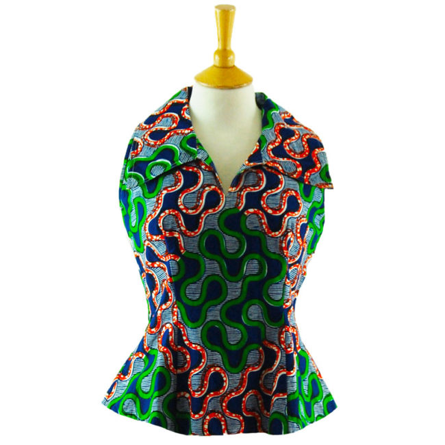 70s African Print Sleeveless Top