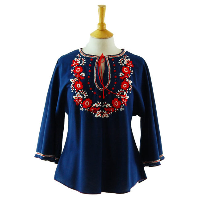 70s Blue Cotton Embroidered Peasant Blouse