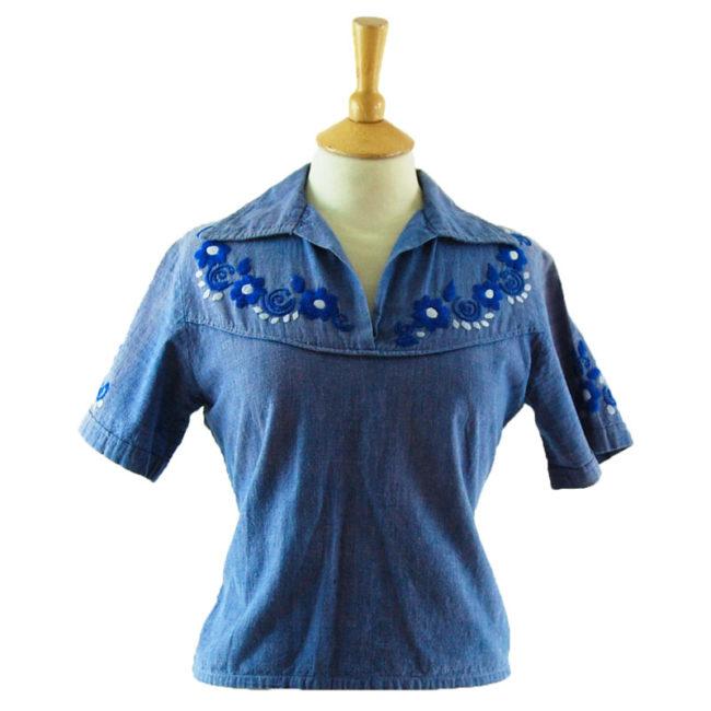 70s Blue Cotton Peasant Blouse