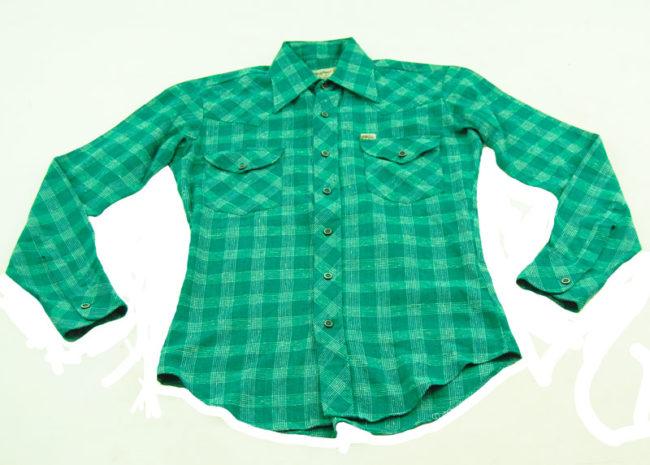 70s Green Plaid Western Shirt