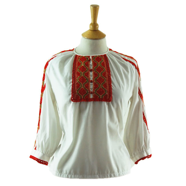 70s Red Crochet Peasant Blouse