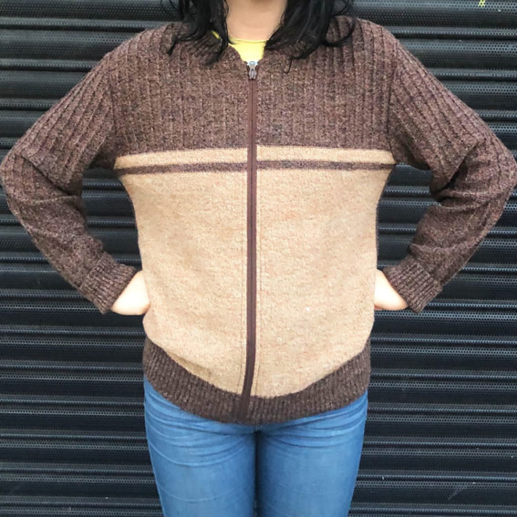 70s Rustic Brown And Caramel Cardigan