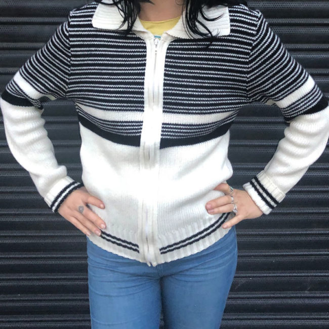 70s Striped Two Tone Cardigan