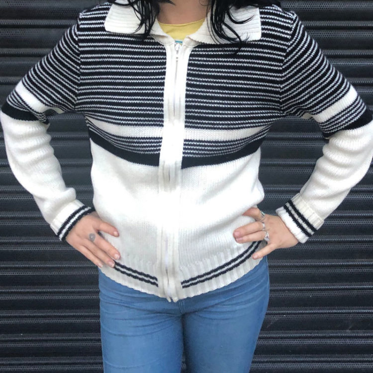 70s Striped Two Tone Cardigan