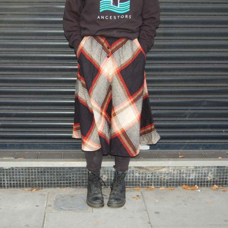 70s Symmetrical Diamond Tartan Skirt