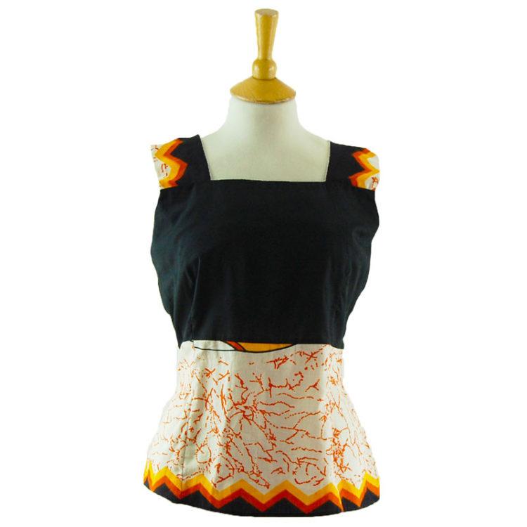 70s Vintage Black And Orange Tank Top
