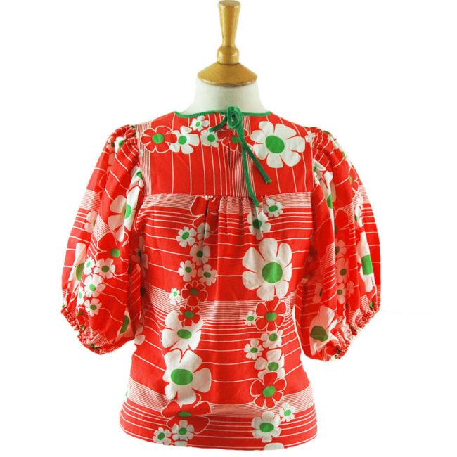 70s Vintage Red Floral Top