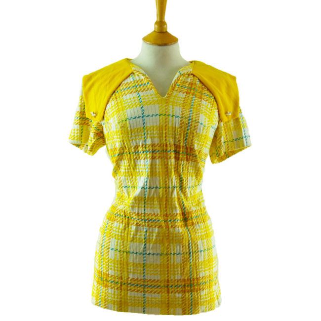 70s Vintage Yellow Plaid Blouse