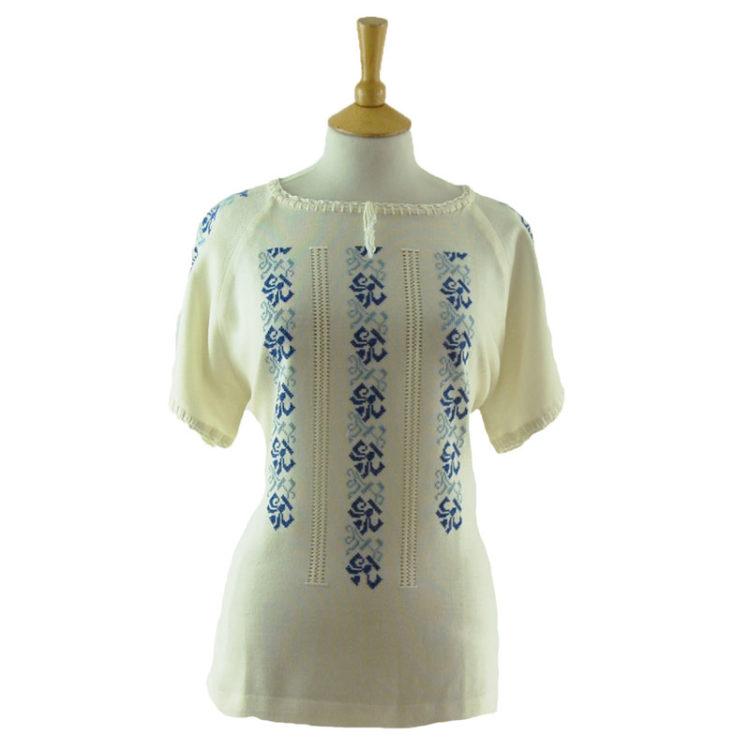 70s White Cotton Gypsy Blouse