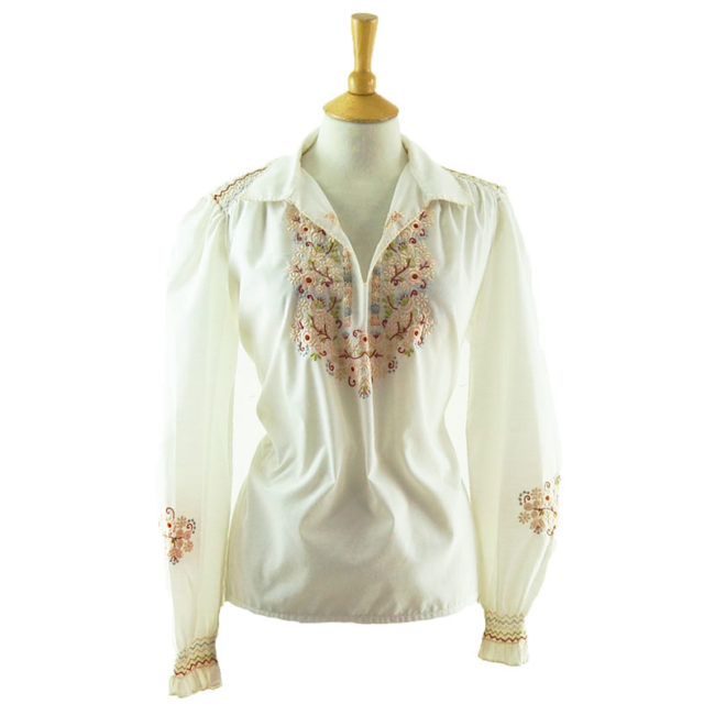 70s White Floral Peasant Blouse