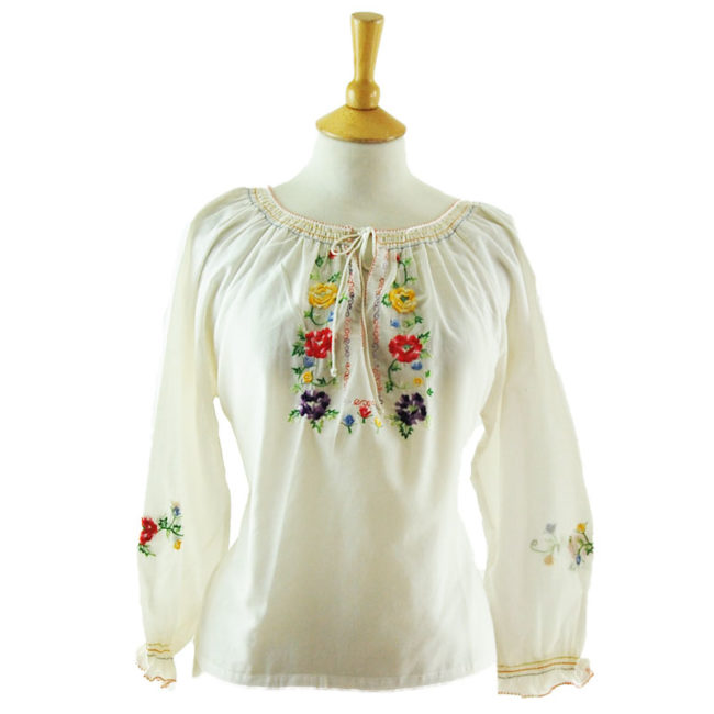 70s White Gypsy Blouse