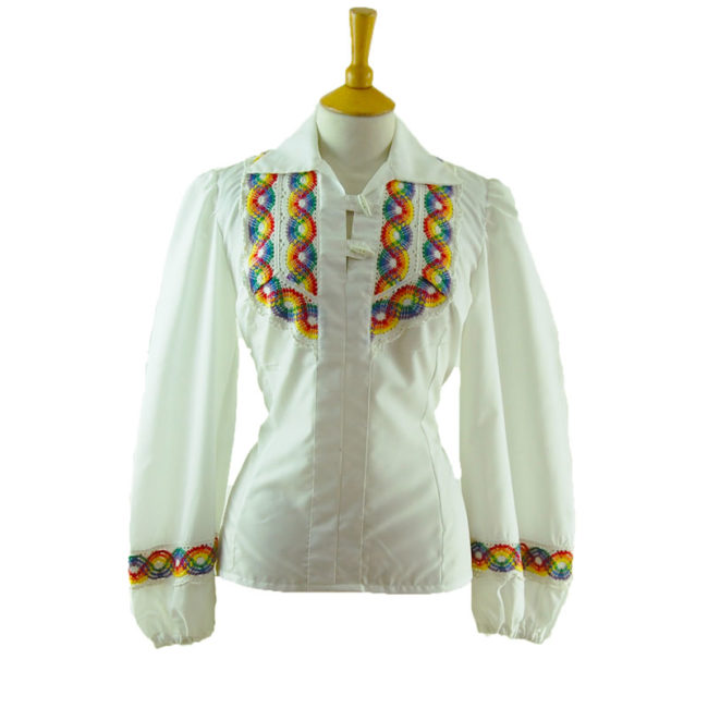 70s White Rainbow Embroidery Blouse
