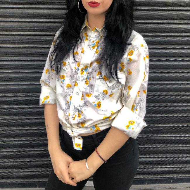 70s Womens Daisy Print Shirt