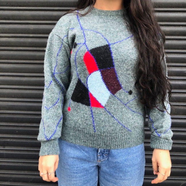 90s Abstract Pure Wool Jumper