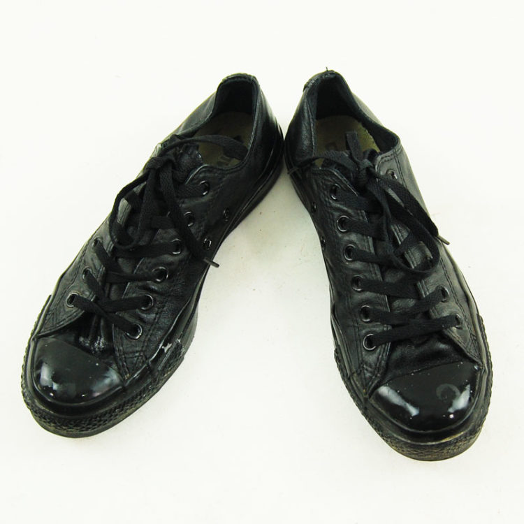 Black Real Leather Converse