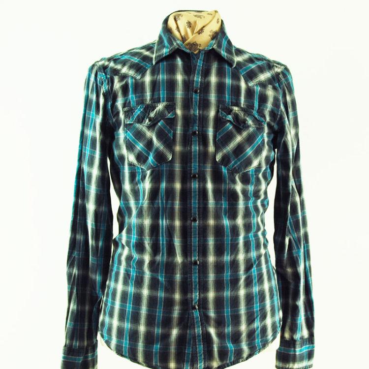 Blue And Grey Checkered Shirt