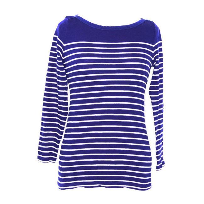 Blue And White Long Sleeve Tee Shirt