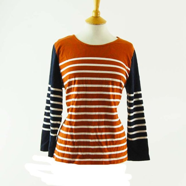 Burnt Orange Striped Long Sleeve Tee Shirt