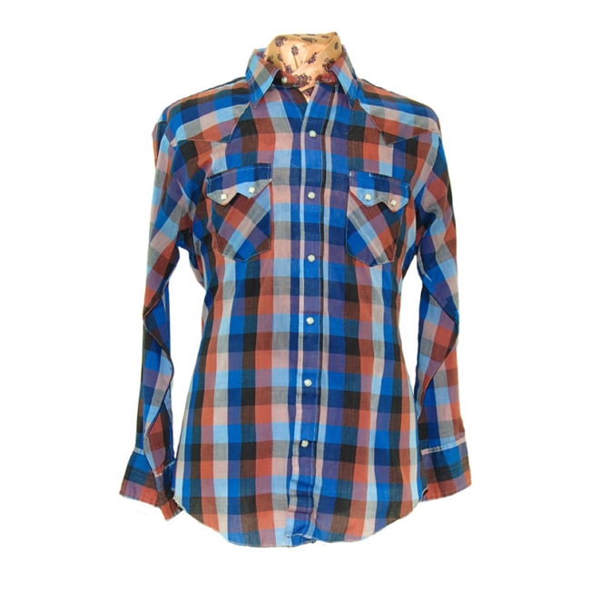 Dark Large Plaid Western Shirt
