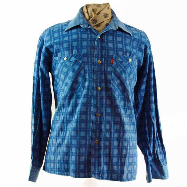 Levis Blue Cotton Checkered Shirt