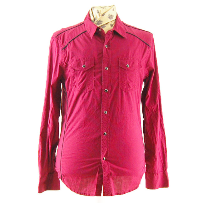 Red And Black Pinstripe Western Shirt