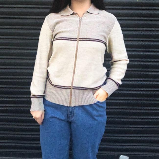 Vintage Two Tone Beige Cardigan