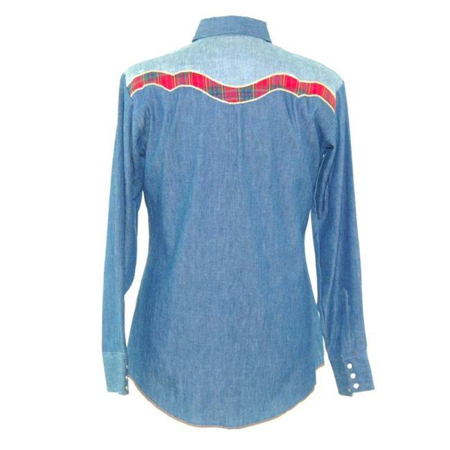 back of Dee Cee Two Tone Denim Western Shirt