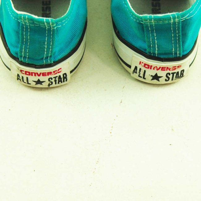 back of Vintage Turquoise Converse All Star Sneakers
