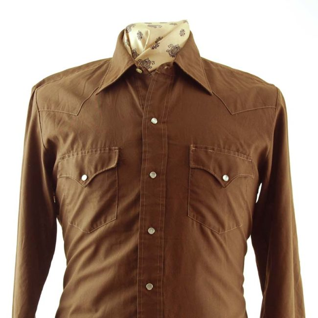 close up of 70s Brown Western Shirt