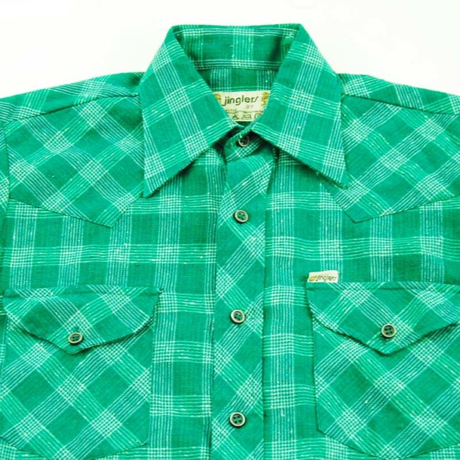 close up of 70s Green Plaid Western Shirt