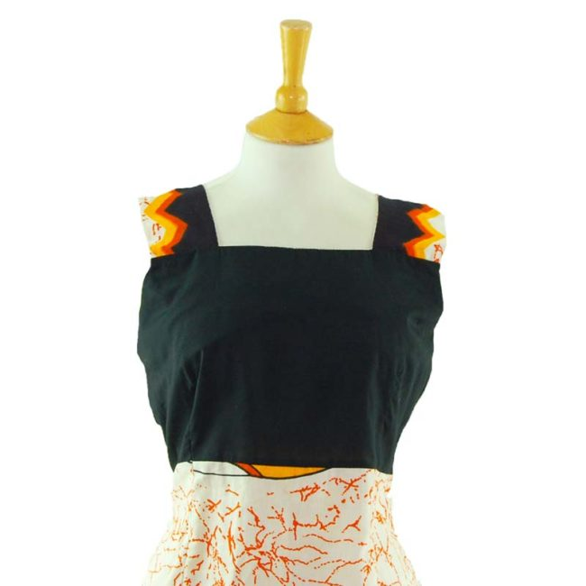 close up of 70s Vintage Black And Orange Tank Top