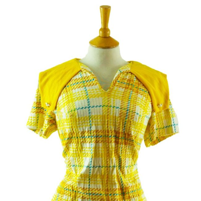 close up of 70s Vintage Yellow Plaid Blouse