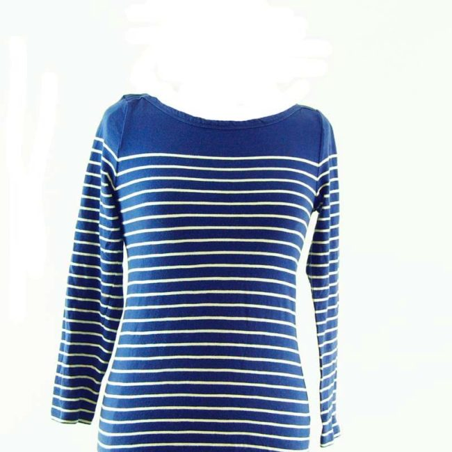 close up of Blue And White Long Sleeve Tee Shirt