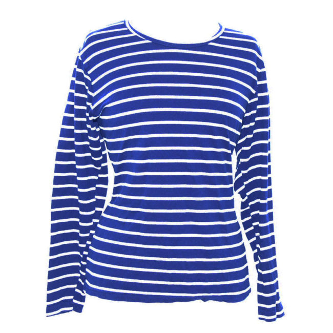 close up of Blue Sailor Long Sleeve Tee Shirt