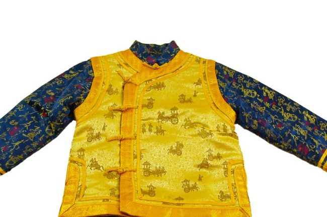 close up of Child Blue And Gold Oriental Formal Wear