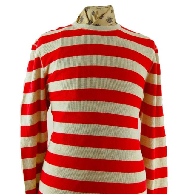 close up of Mens Stripped Long Sleeve Tee Shirt