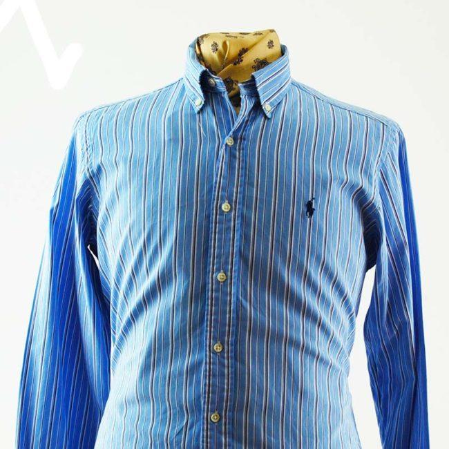 close up of Ralph Lauren Blue Pinstripe Shirt