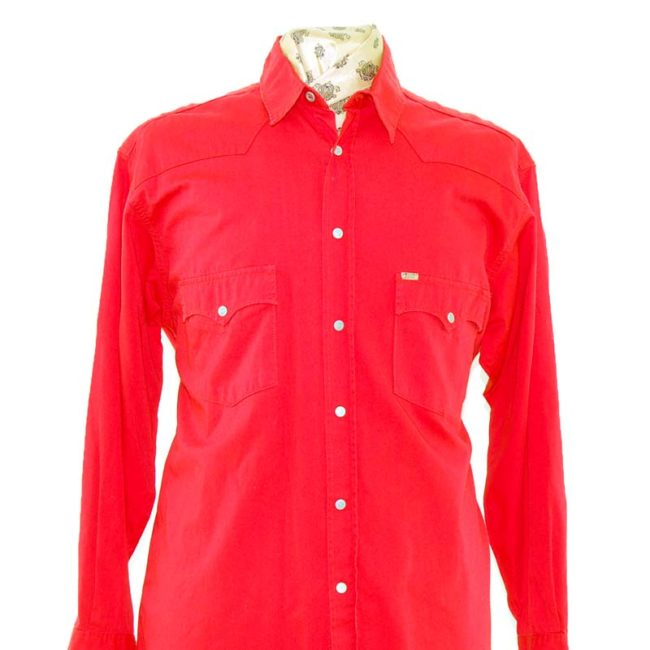 close up of Red Mustang Western Shirt