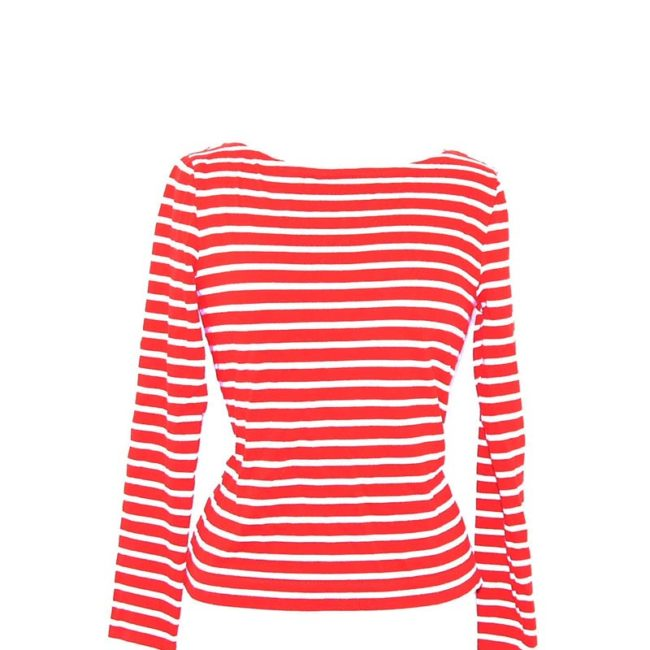close up of Red Stripey Long Sleeve Tee Shirt
