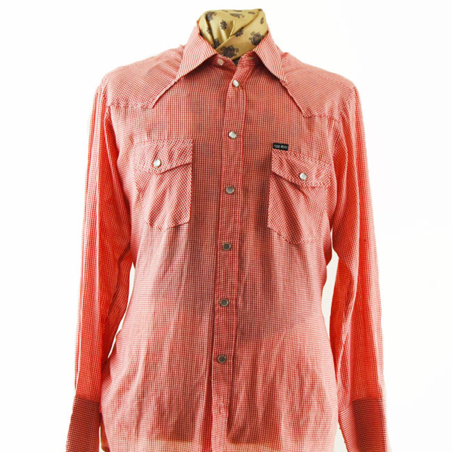 close up of Small Gingham Red Western Shirt