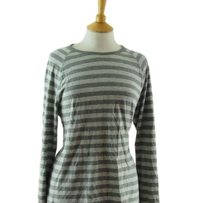 close up of Two Tone Grey Long Sleeve Tee Shirt
