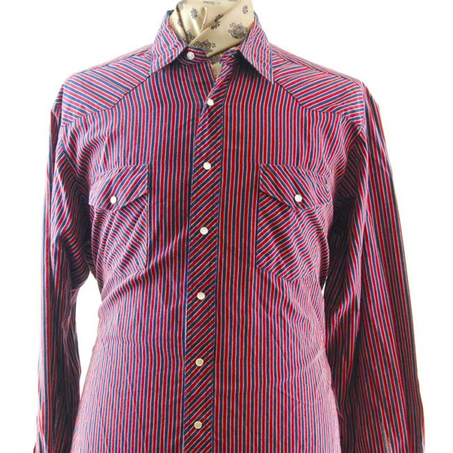 close up of Wrangler Pinstripe Western Shirt
