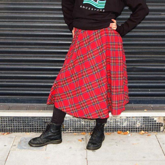 full length 70s Classic Tartan Skirt