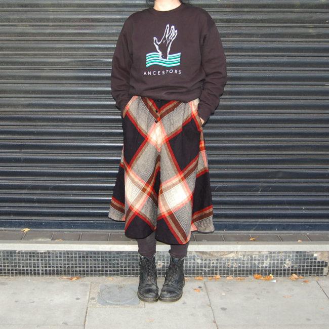 full length 70s Symmetrical Diamond Tartan Skirt
