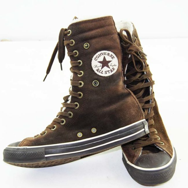 label of Vintage Brown Converse All Star High Tops