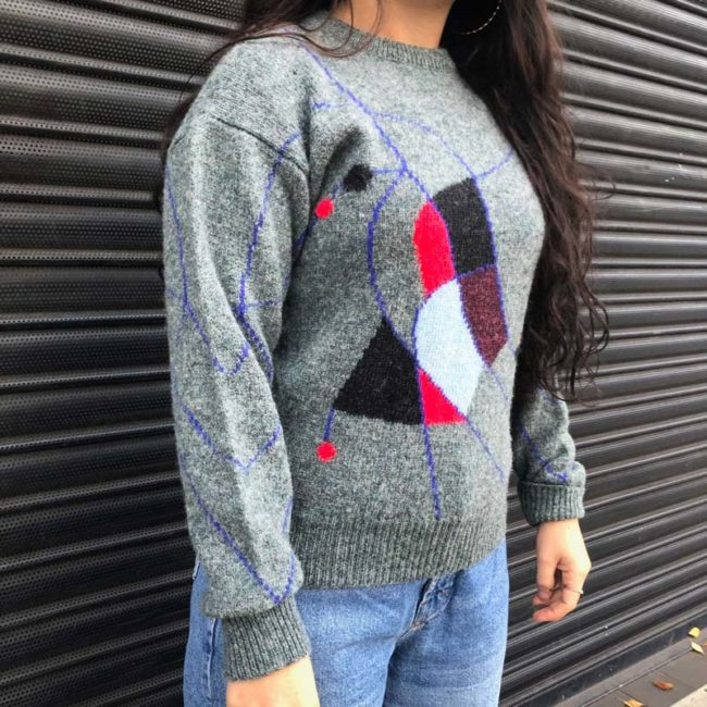 side of 90s Abstract Pure Wool Jumper
